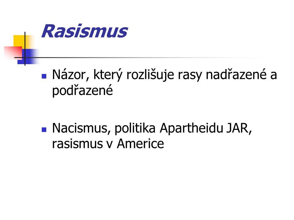 Rasismus Názor, který rozlišuje rasy nadřazené a podřazené Nacismus, politika Apartheidu JAR, rasismus v Americe