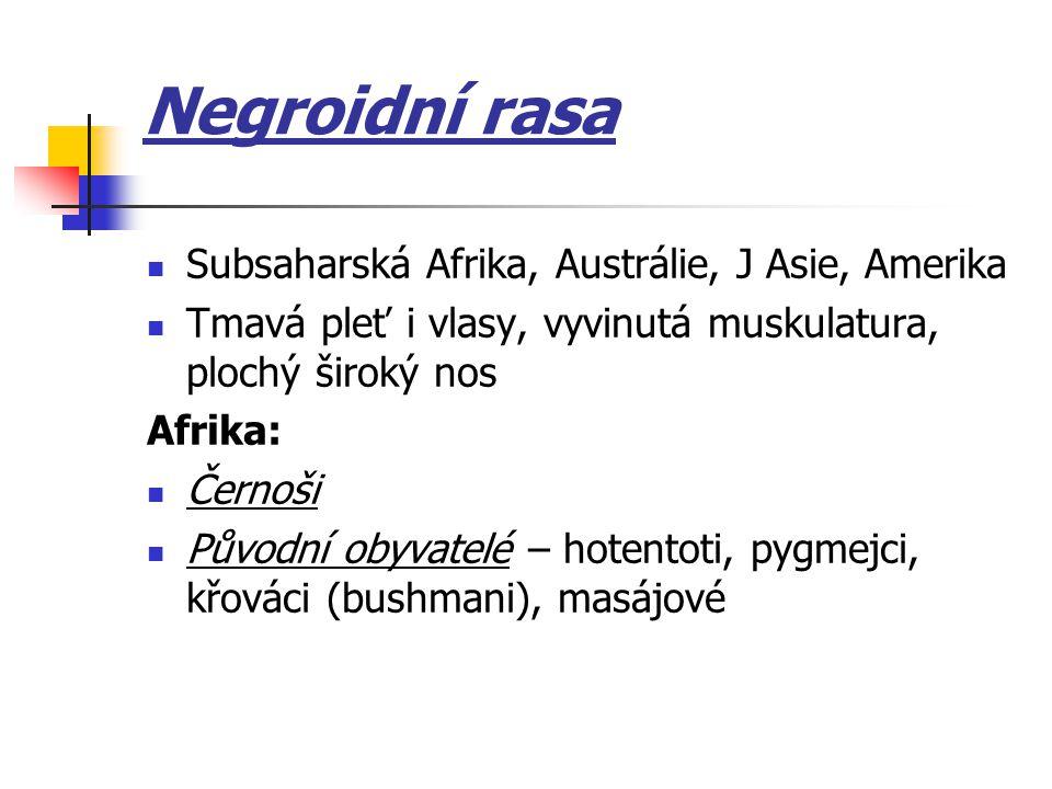 Negroidní rasa Subsaharská Afrika, Austrálie, J Asie, Amerika Tmavá pleť i vlasy, vyvinutá muskulatura, plochý široký nos Afrika: Černoši Původní obyv