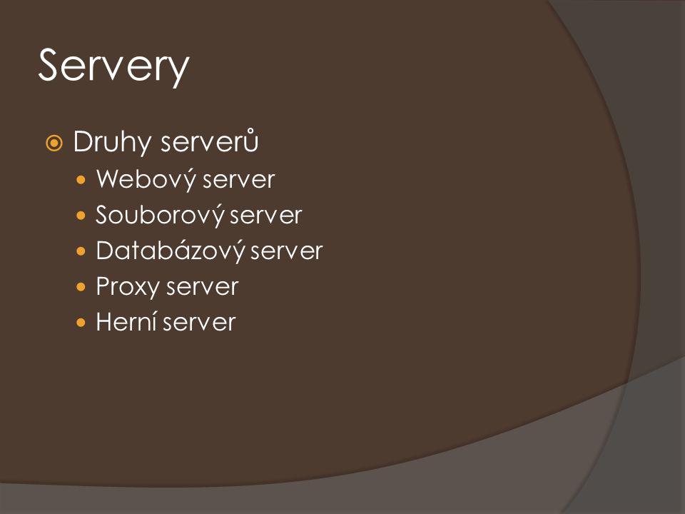 Servery  Druhy serverů Webový server Souborový server Databázový server Proxy server Herní server