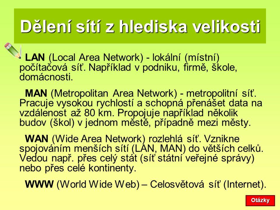 Dělení sítí z hlediska velikosti LAN (Local Area Network) - lokální (místní) počítačová síť. Například v podniku, firmě, škole, domácnosti. MAN (Metro