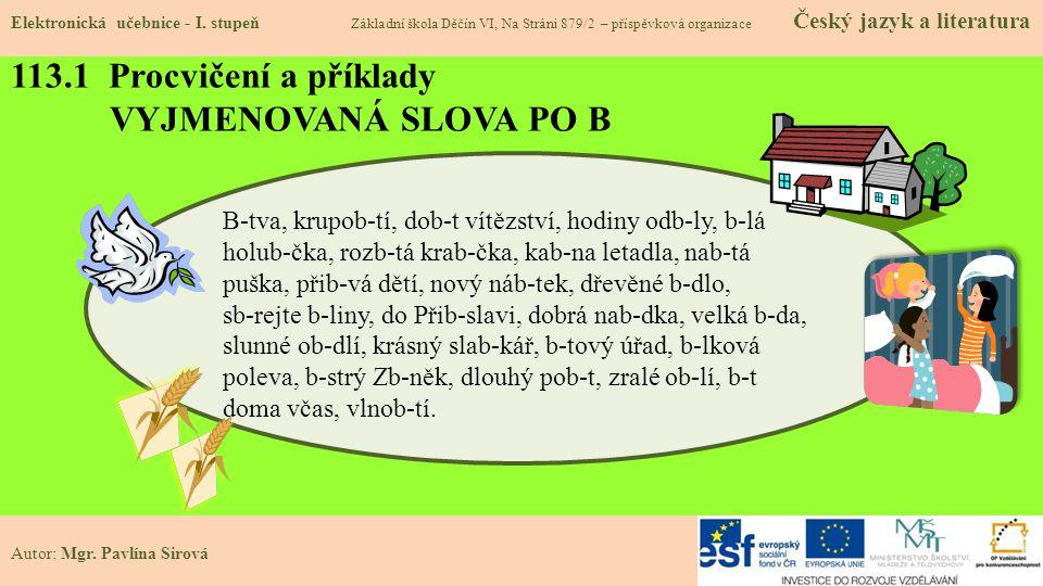 113.1 Procvičení a příklady VYJMENOVANÁ SLOVA PO B Elektronická učebnice - I.