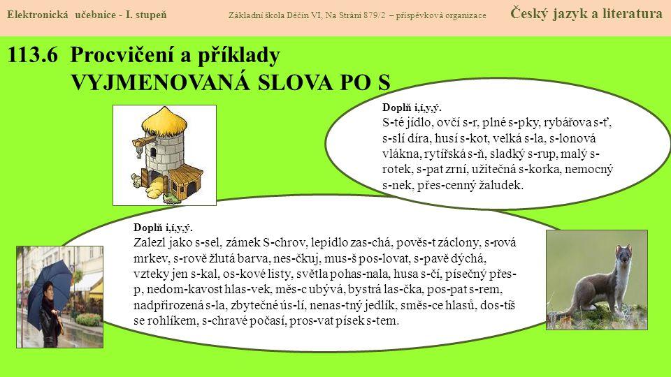 113.6 Procvičení a příklady VYJMENOVANÁ SLOVA PO S Elektronická učebnice - I.