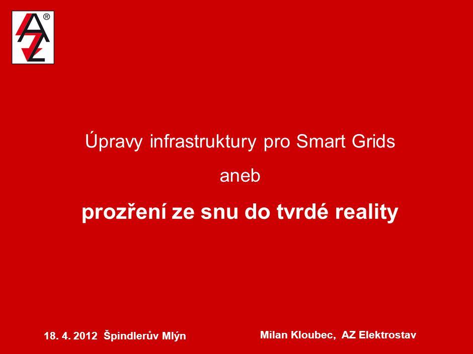 Úpravy infrastruktury pro Smart Grids aneb prozření ze snu do tvrdé reality 18. 4. 2012 Špindlerův Mlýn Milan Kloubec, AZ Elektrostav