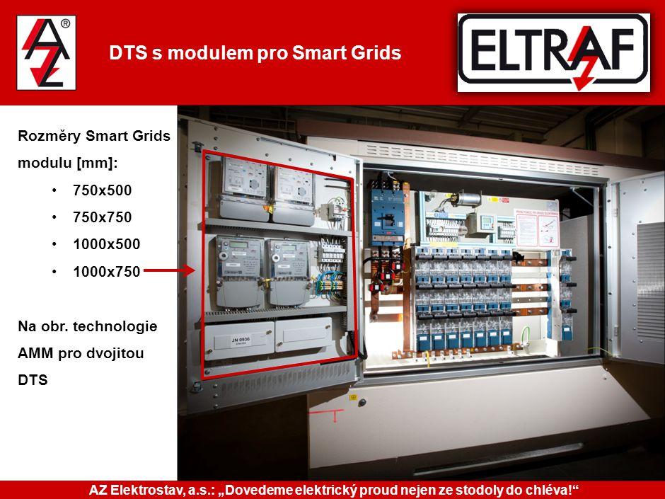 DTS s modulem pro Smart Grids Rozměry Smart Grids modulu [mm]: 750x500 750x750 1000x500 1000x750 Na obr. technologie AMM pro dvojitou DTS AZ Elektrost