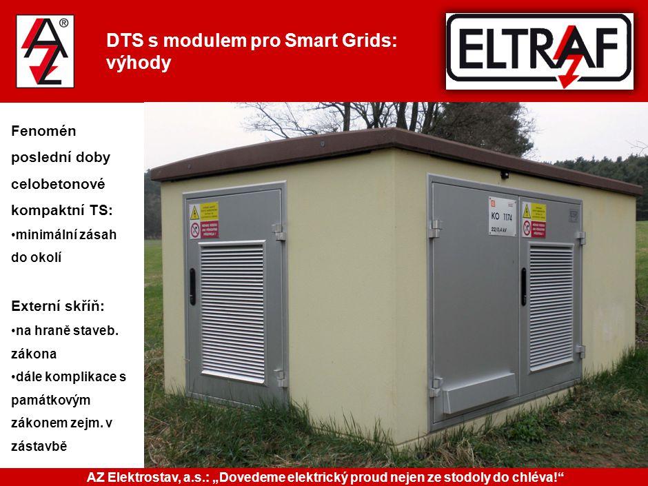 DTS s modulem pro Smart Grids: výhody Fenomén poslední doby celobetonové kompaktní TS: minimální zásah do okolí Externí skříň: na hraně staveb. zákona