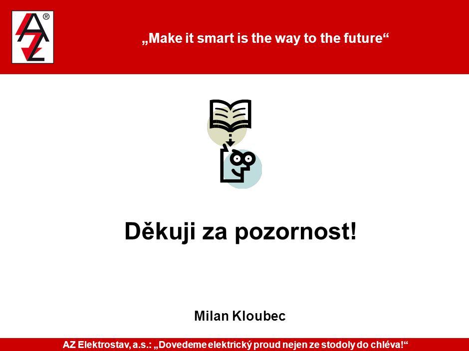 """""""Make it smart is the way to the future"""" Děkuji za pozornost! Milan Kloubec AZ Elektrostav, a.s.: """"Dovedeme elektrický proud nejen ze stodoly do chlév"""