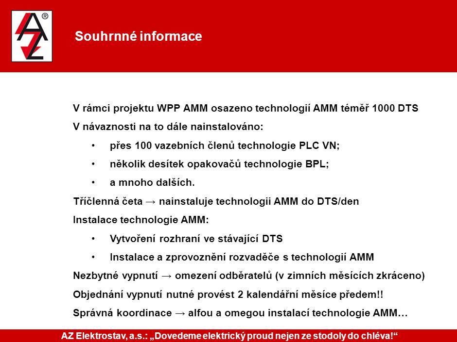 Souhrnné informace V rámci projektu WPP AMM osazeno technologií AMM téměř 1000 DTS V návaznosti na to dále nainstalováno: přes 100 vazebních členů tec