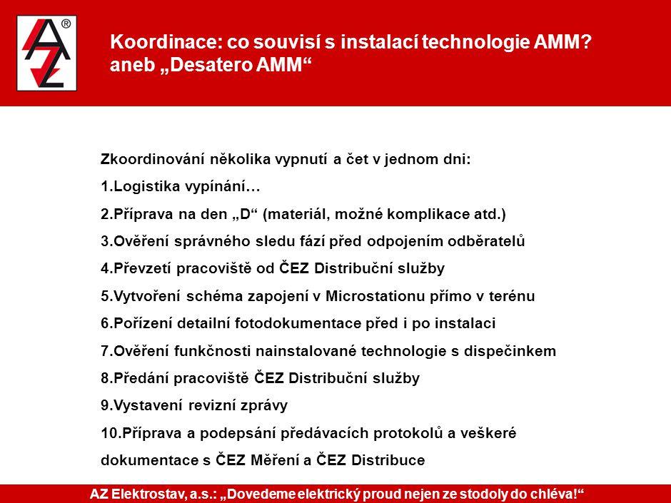 """Koordinace: co souvisí s instalací technologie AMM? aneb """"Desatero AMM"""" Zkoordinování několika vypnutí a čet v jednom dni: 1.Logistika vypínání… 2.Pří"""