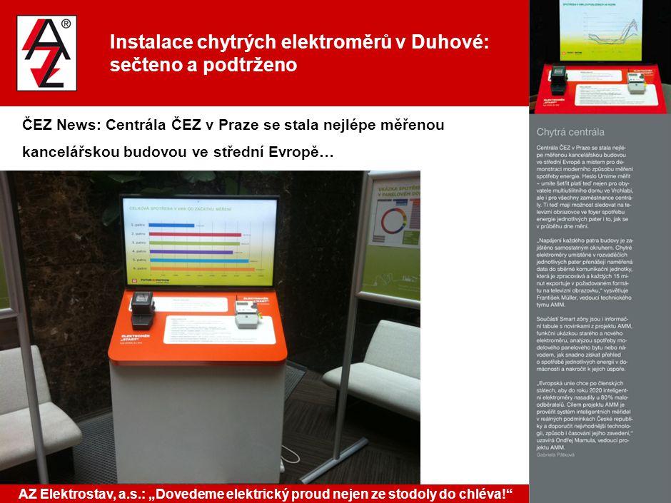Instalace chytrých elektroměrů v Duhové: sečteno a podtrženo ČEZ News: Centrála ČEZ v Praze se stala nejlépe měřenou kancelářskou budovou ve střední E