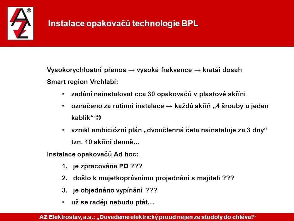 Instalace opakovačů technologie BPL Vysokorychlostní přenos → vysoká frekvence → kratší dosah Smart region Vrchlabí: zadání nainstalovat cca 30 opakov