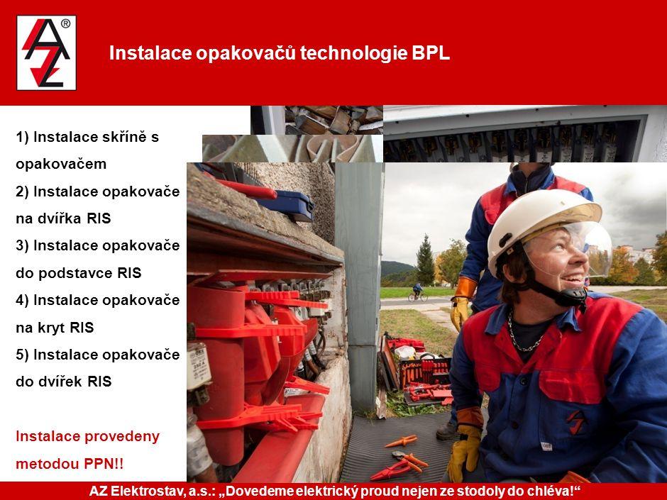 Instalace opakovačů technologie BPL 1) Instalace skříně s opakovačem 2) Instalace opakovače na dvířka RIS 3) Instalace opakovače do podstavce RIS 4) I