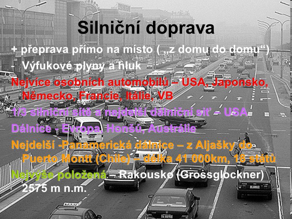 """Silniční doprava + přeprava přímo na místo ( """"z domu do domu"""") -Výfukové plyny a hluk Nejvíce osobních automobilů – USA, Japonsko, Německo, Francie, I"""