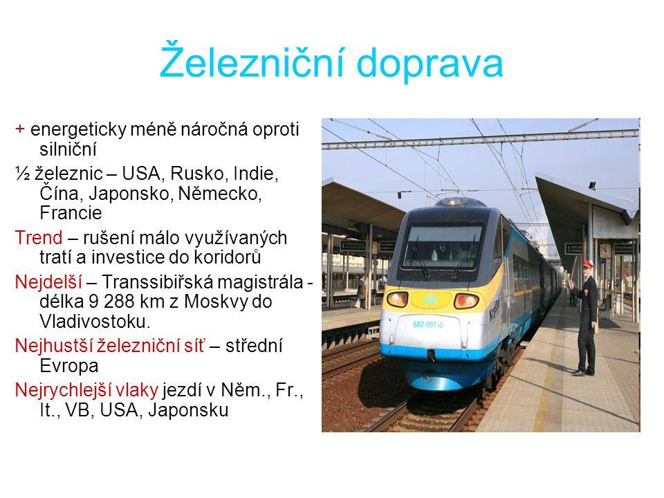 Železniční doprava + energeticky méně náročná oproti silniční ½ železnic – USA, Rusko, Indie, Čína, Japonsko, Německo, Francie Trend – rušení málo vyu