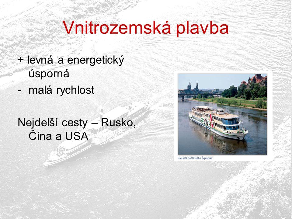 Vnitrozemská plavba + levná a energetický úsporná -malá rychlost Nejdelší cesty – Rusko, Čína a USA