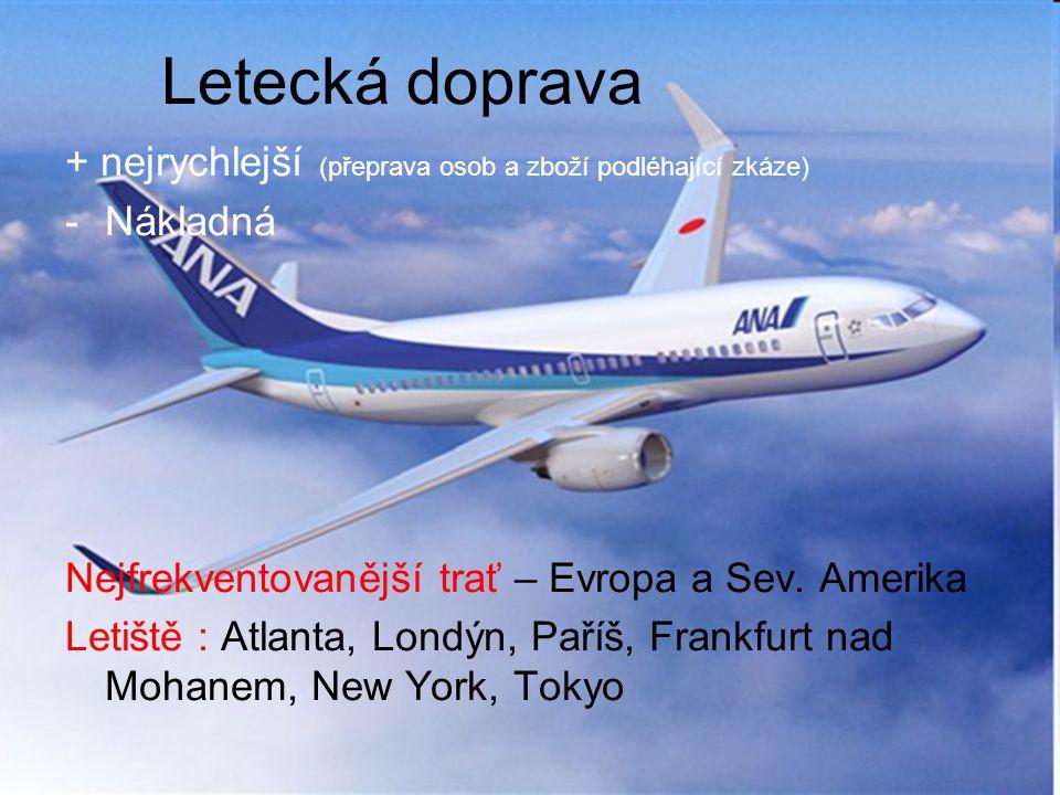 Letecká doprava + nejrychlejší (přeprava osob a zboží podléhající zkáze) -Nákladná Nejfrekventovanější trať – Evropa a Sev. Amerika Letiště : Atlanta,