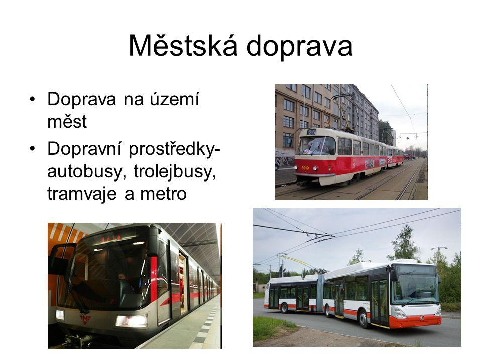 Městská doprava Doprava na území měst Dopravní prostředky- autobusy, trolejbusy, tramvaje a metro