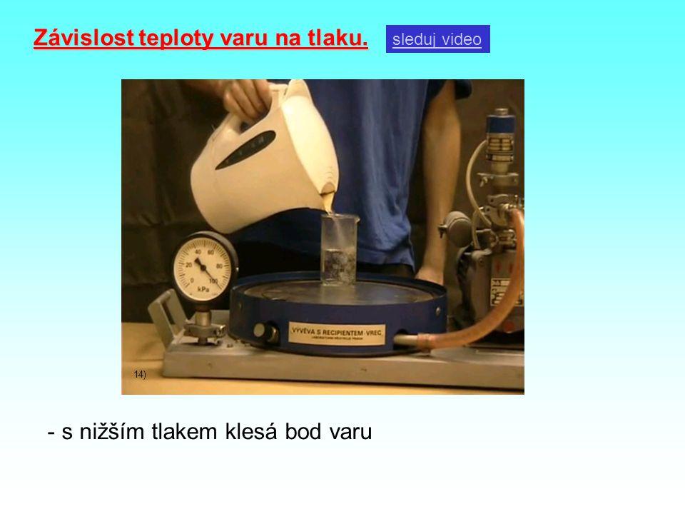 Závislost teploty varu na tlaku. sleduj video 14) - s nižším tlakem klesá bod varu