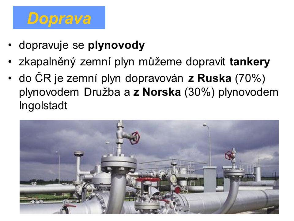 dopravuje se plynovody zkapalněný zemní plyn můžeme dopravit tankery do ČR je zemní plyn dopravován z Ruska (70%) plynovodem Družba a z Norska (30%) p