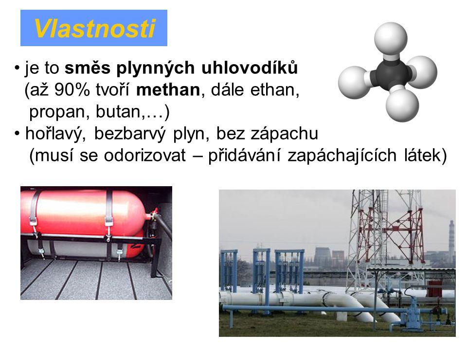 je to směs plynných uhlovodíků (až 90% tvoří methan, dále ethan, propan, butan,…) hořlavý, bezbarvý plyn, bez zápachu (musí se odorizovat – přidávání