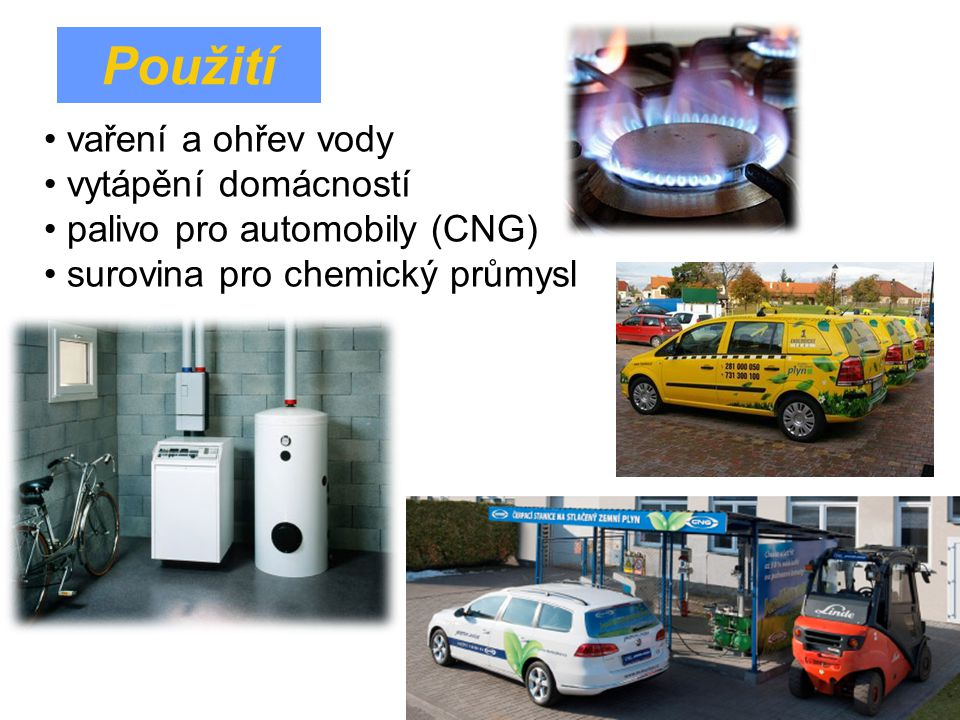 Použití vaření a ohřev vody vytápění domácností palivo pro automobily (CNG) surovina pro chemický průmysl