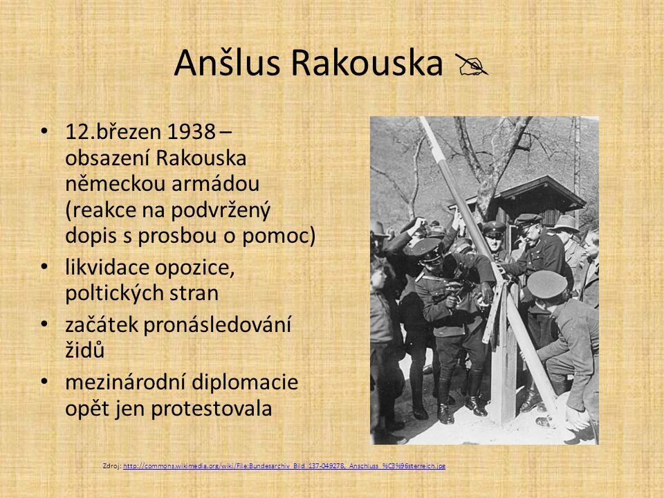 Anšlus Rakouska  12.březen 1938 – obsazení Rakouska německou armádou (reakce na podvržený dopis s prosbou o pomoc) likvidace opozice, poltických stra
