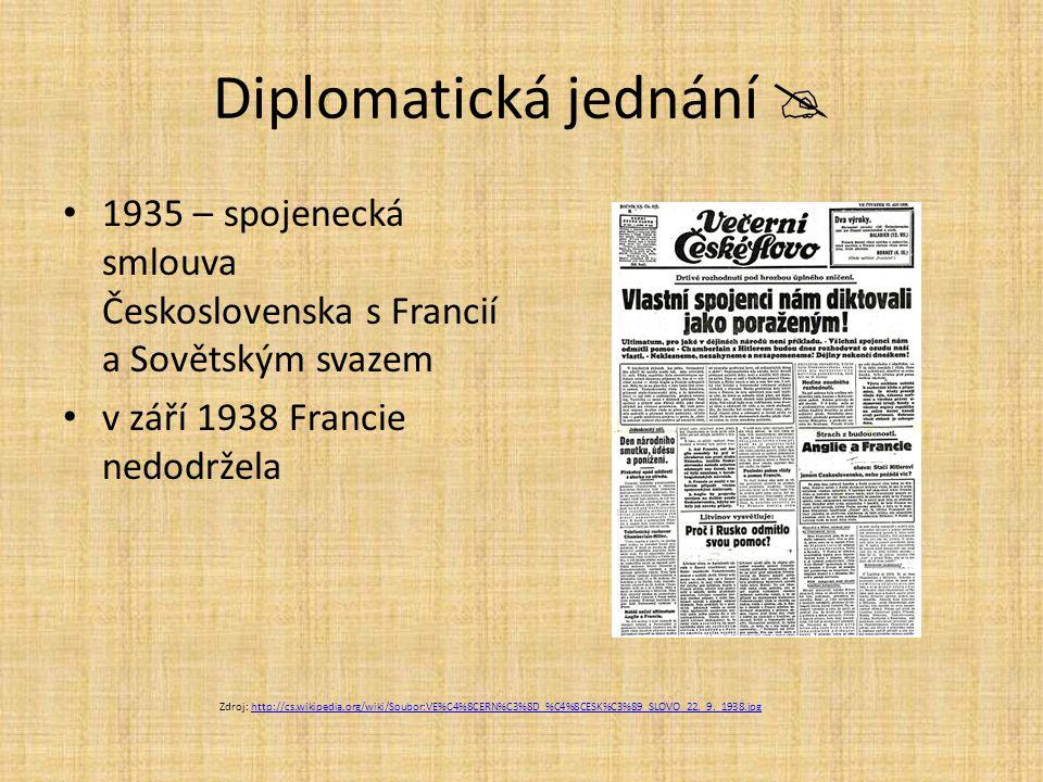 Diplomatická jednání  1935 – spojenecká smlouva Československa s Francií a Sovětským svazem v září 1938 Francie nedodržela Zdroj: http://cs.wikipedia