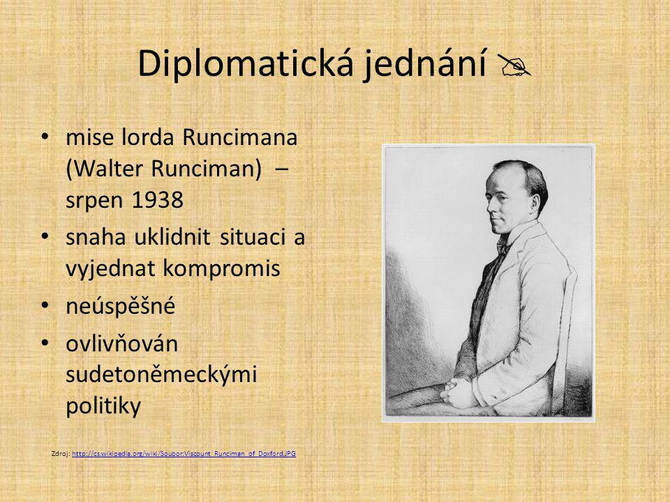 Diplomatická jednání  mise lorda Runcimana (Walter Runciman) – srpen 1938 snaha uklidnit situaci a vyjednat kompromis neúspěšné ovlivňován sudetoněme