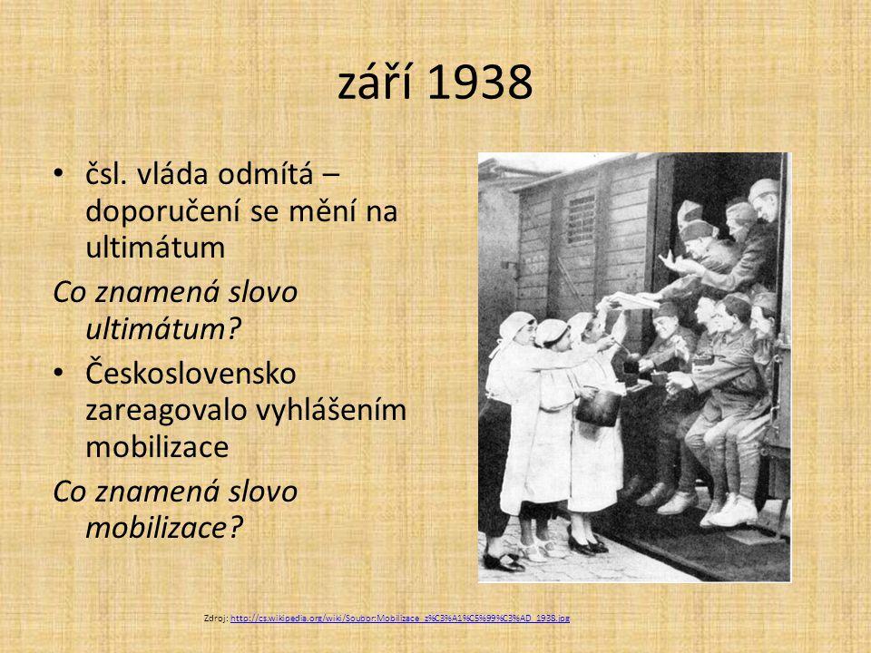 září 1938 čsl. vláda odmítá – doporučení se mění na ultimátum Co znamená slovo ultimátum? Československo zareagovalo vyhlášením mobilizace Co znamená