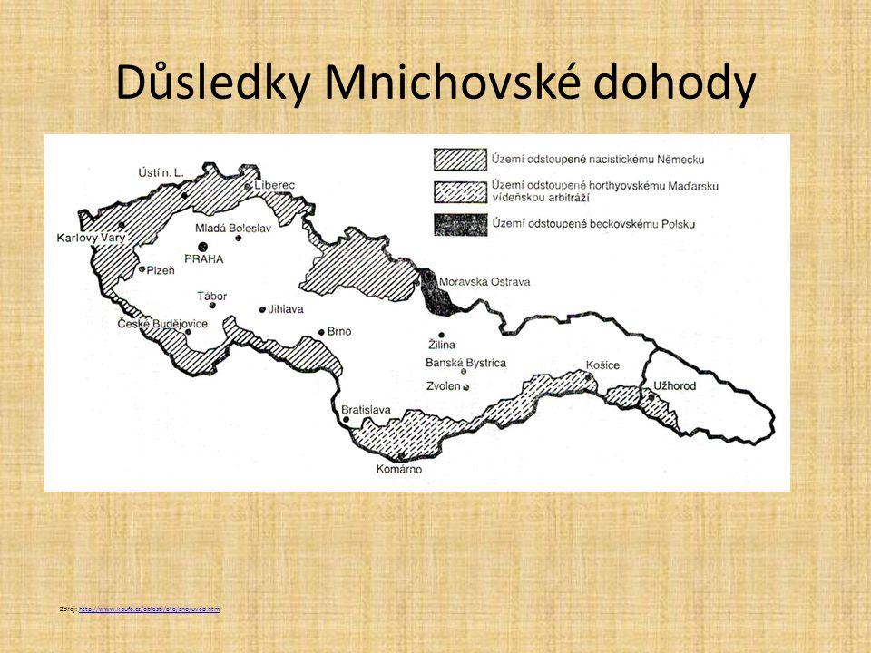 Důsledky Mnichovské dohody Zdroj: http://www.kpufo.cz/oblasti/ota/zno/uvod.htmhttp://www.kpufo.cz/oblasti/ota/zno/uvod.htm