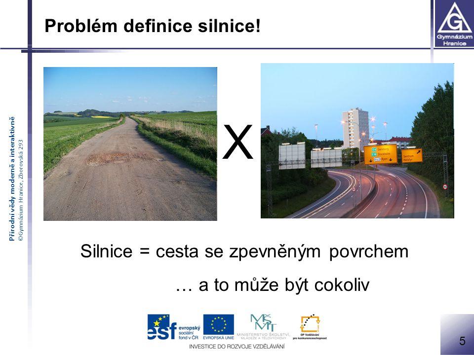 Přírodní vědy moderně a interaktivně ©Gymnázium Hranice, Zborovská 293 Problém definice silnice.