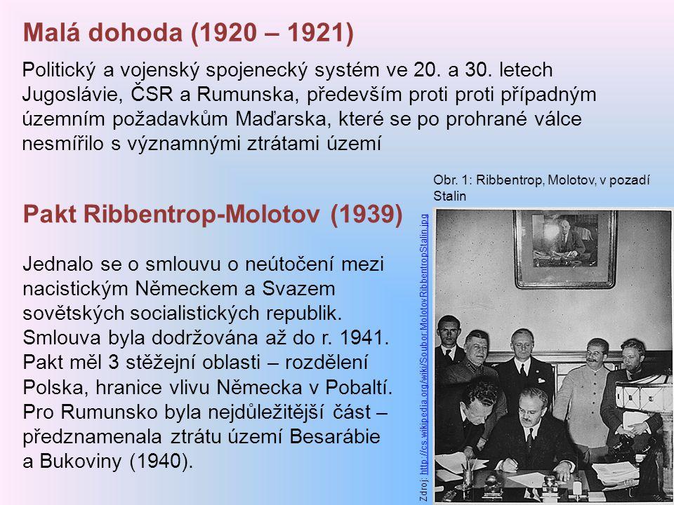 Malá dohoda (1920 – 1921) Politický a vojenský spojenecký systém ve 20. a 30. letech Jugoslávie, ČSR a Rumunska, především proti proti případným územn