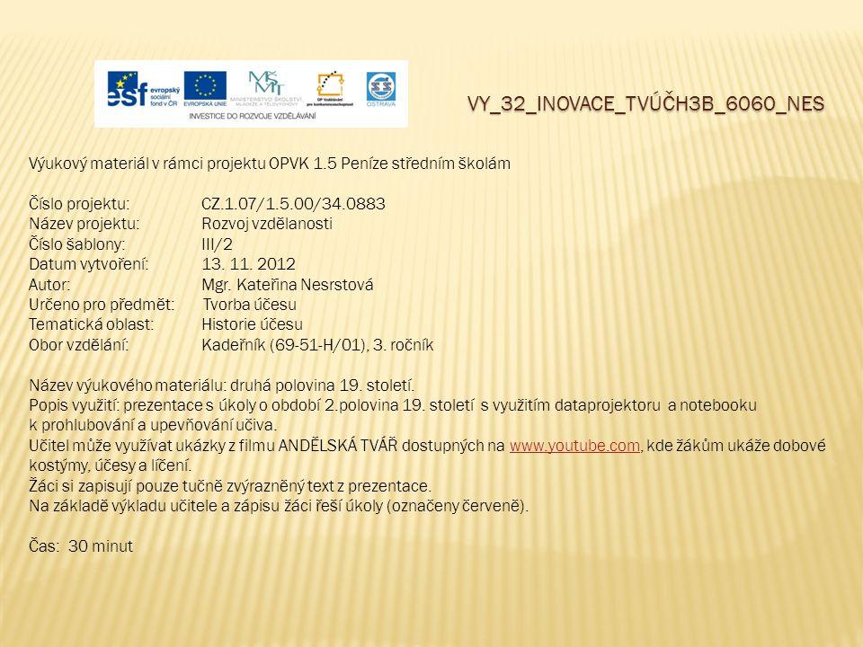 VY_32_INOVACE_TVÚČH3B_6060_NES Výukový materiál v rámci projektu OPVK 1.5 Peníze středním školám Číslo projektu:CZ.1.07/1.5.00/34.0883 Název projektu: