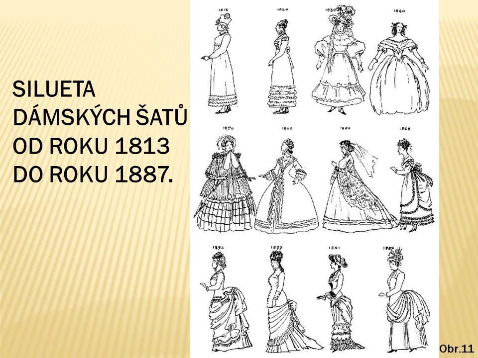 Obr.11 SILUETA DÁMSKÝCH ŠATŮ OD ROKU 1813 DO ROKU 1887.
