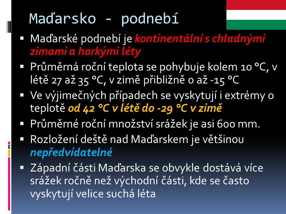 Maďarsko - podnebí  Maďarské podnebí je kontinentální s chladnými zimami a horkými léty  Průměrná roční teplota se pohybuje kolem 10 °C, v létě 27 a