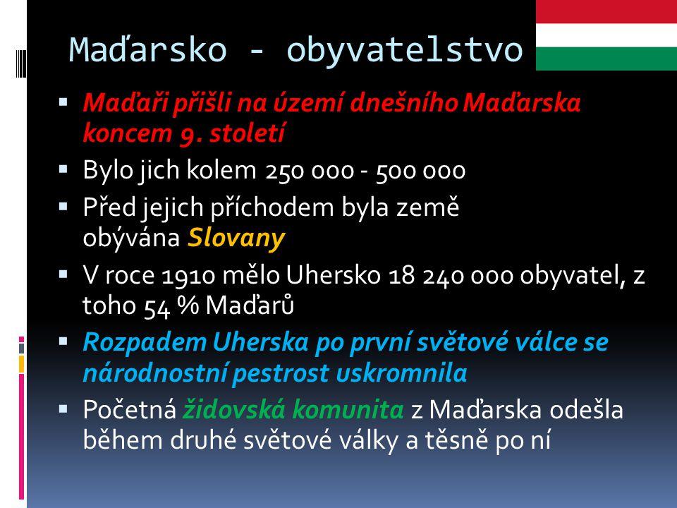 Maďarsko - obyvatelstvo  Maďaři přišli na území dnešního Maďarska koncem 9. století  Bylo jich kolem 250 000 - 500 000  Před jejich příchodem byla