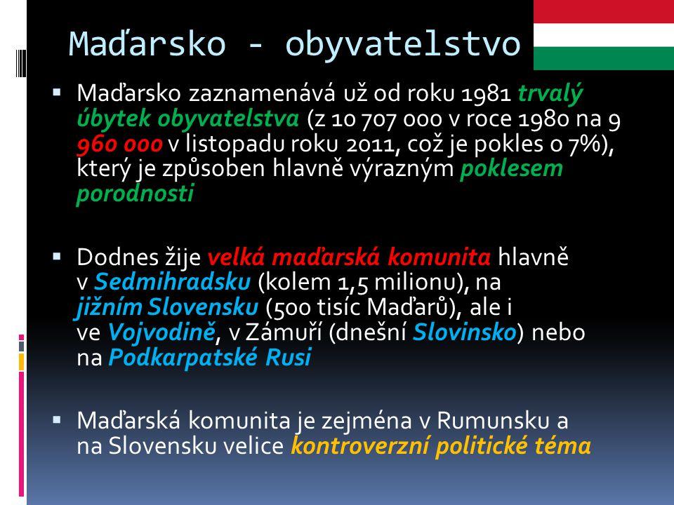 Maďarsko - obyvatelstvo  Maďarsko zaznamenává už od roku 1981 trvalý úbytek obyvatelstva (z 10 707 000 v roce 1980 na 9 960 000 v listopadu roku 2011