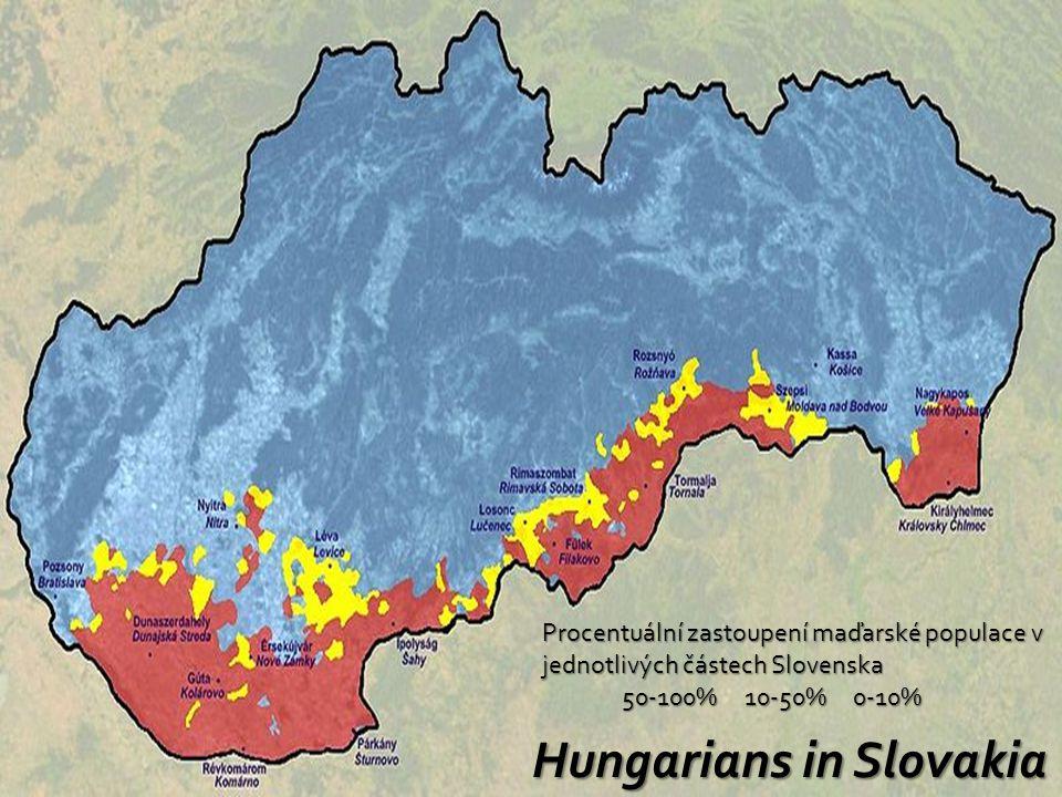 Hungarians in Slovakia Procentuální zastoupení maďarské populace v jednotlivých částech Slovenska 50-100% 10-50% 0-10% 50-100% 10-50% 0-10%