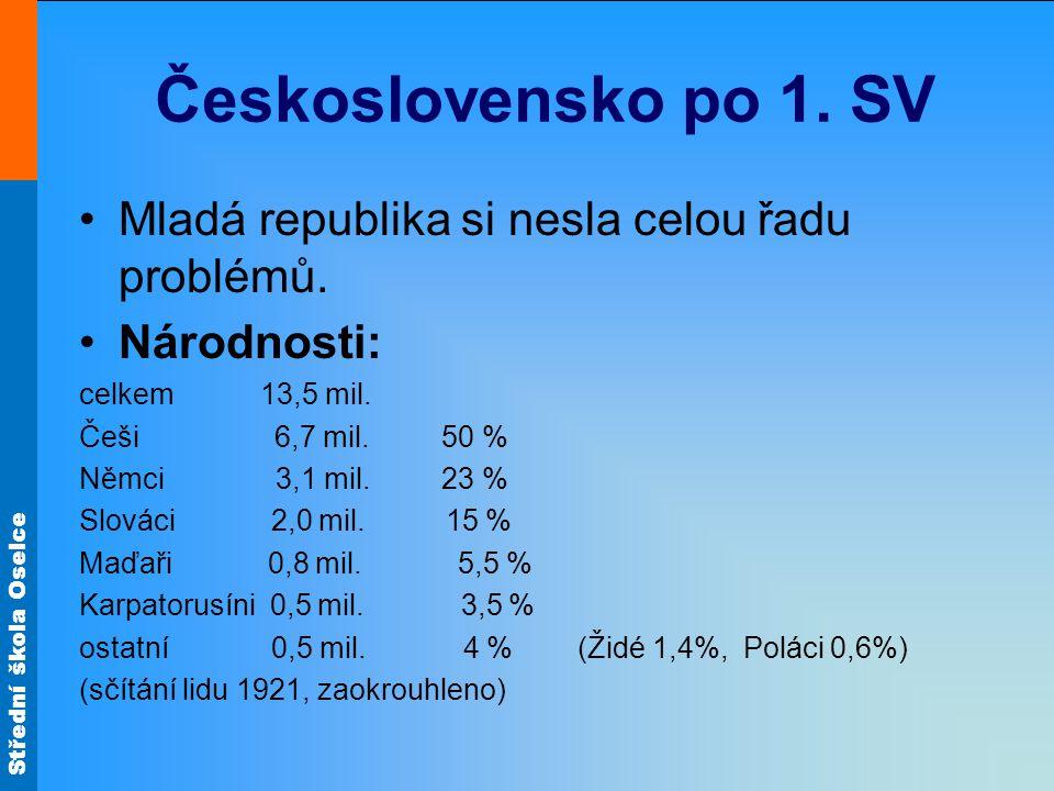 Střední škola Oselce Československo po 1. SV Mladá republika si nesla celou řadu problémů. Národnosti: celkem 13,5 mil. Češi 6,7 mil. 50 % Němci 3,1 m