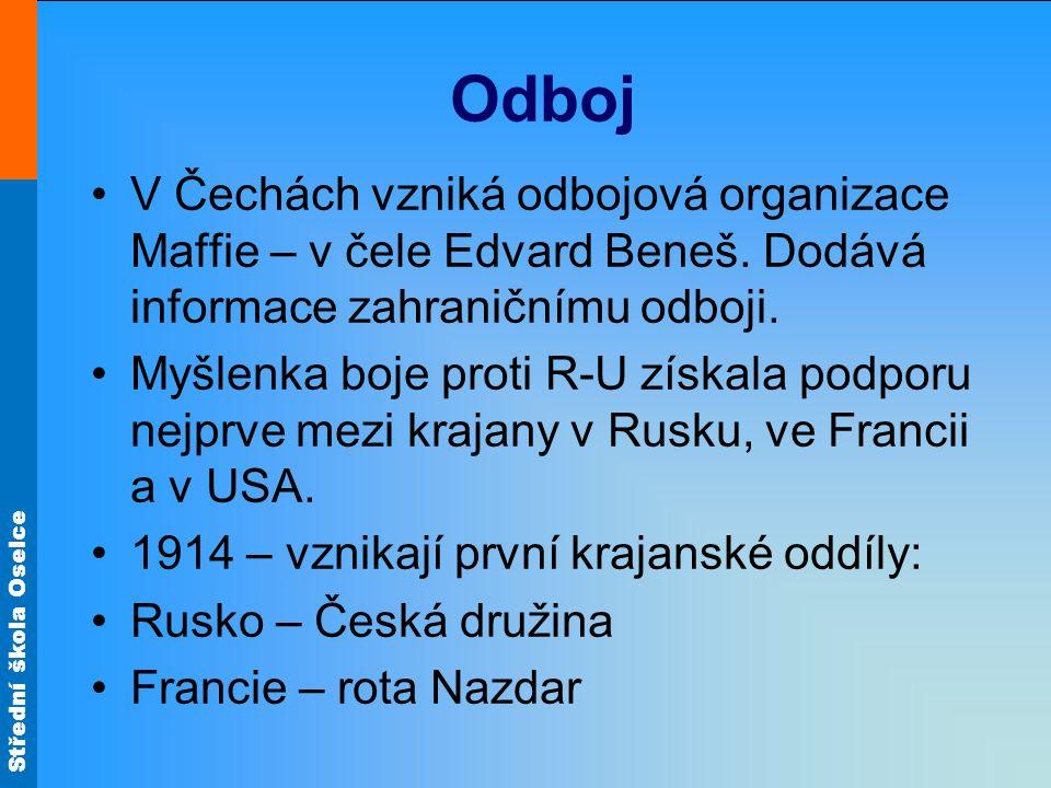Střední škola Oselce 1. československá vláda Milan Rastislav ŠtefánikVáclav Švehla