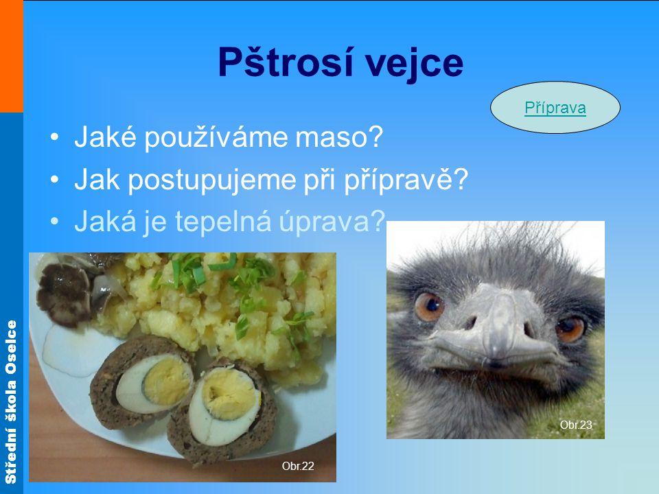 Střední škola Oselce Pštrosí vejce Jaké používáme maso? Jak postupujeme při přípravě? Jaká je tepelná úprava? Obr.23 Obr.22 Příprava