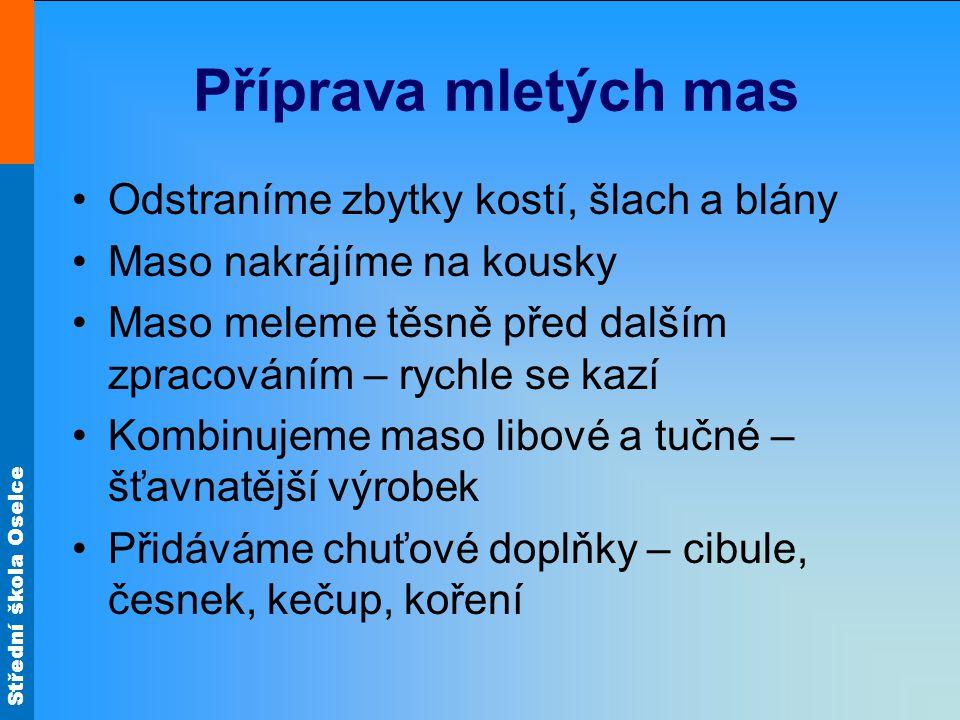 Střední škola Oselce Plněný paprikový lusk Hovězí maso přední nebo ořez a vepřový ořez jemně semeleme.
