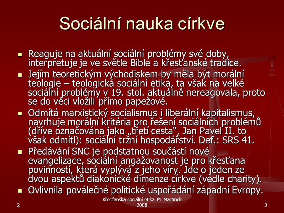2 Křesťanská sociální etika.M. Martinek 20084 Církev v 19.