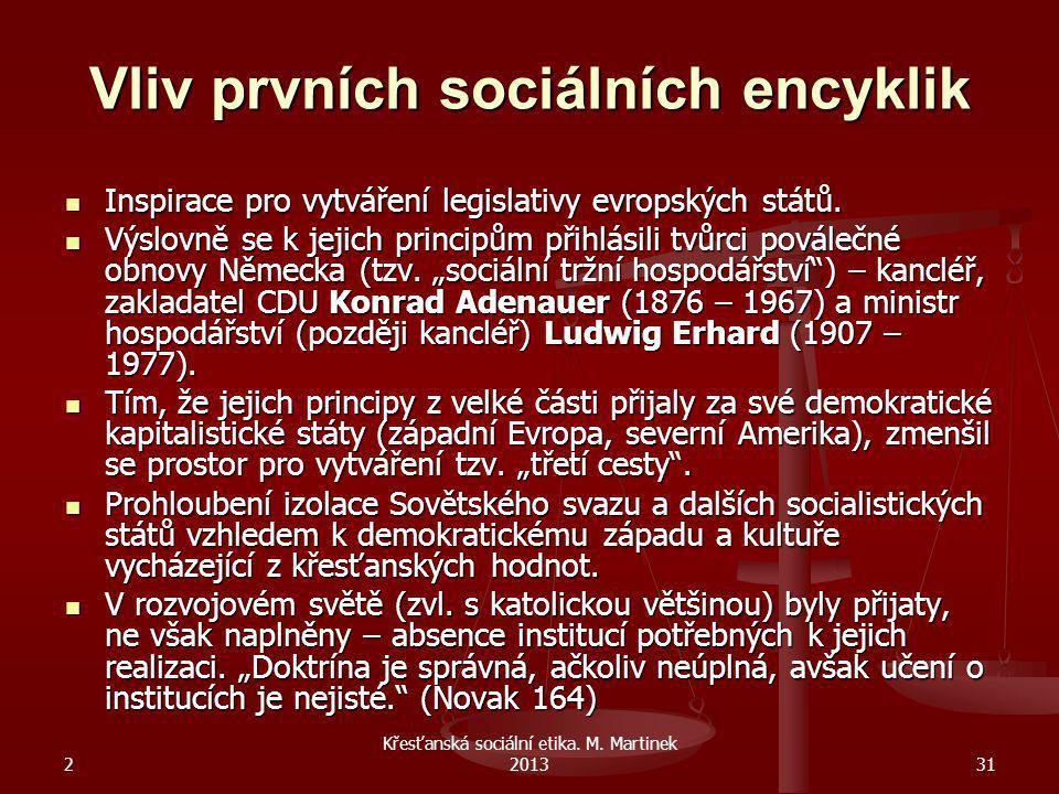 2 Křesťanská sociální etika. M. Martinek 201331 Vliv prvních sociálních encyklik Inspirace pro vytváření legislativy evropských států. Inspirace pro v