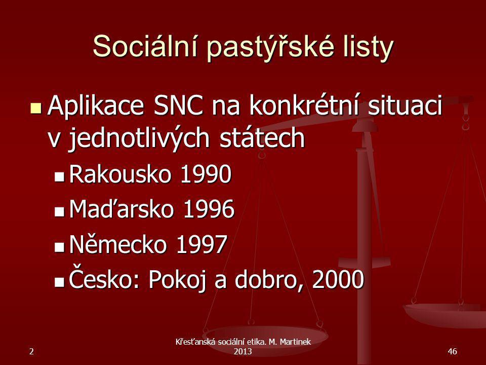 2 Křesťanská sociální etika. M. Martinek 201346 Sociální pastýřské listy Aplikace SNC na konkrétní situaci v jednotlivých státech Aplikace SNC na konk