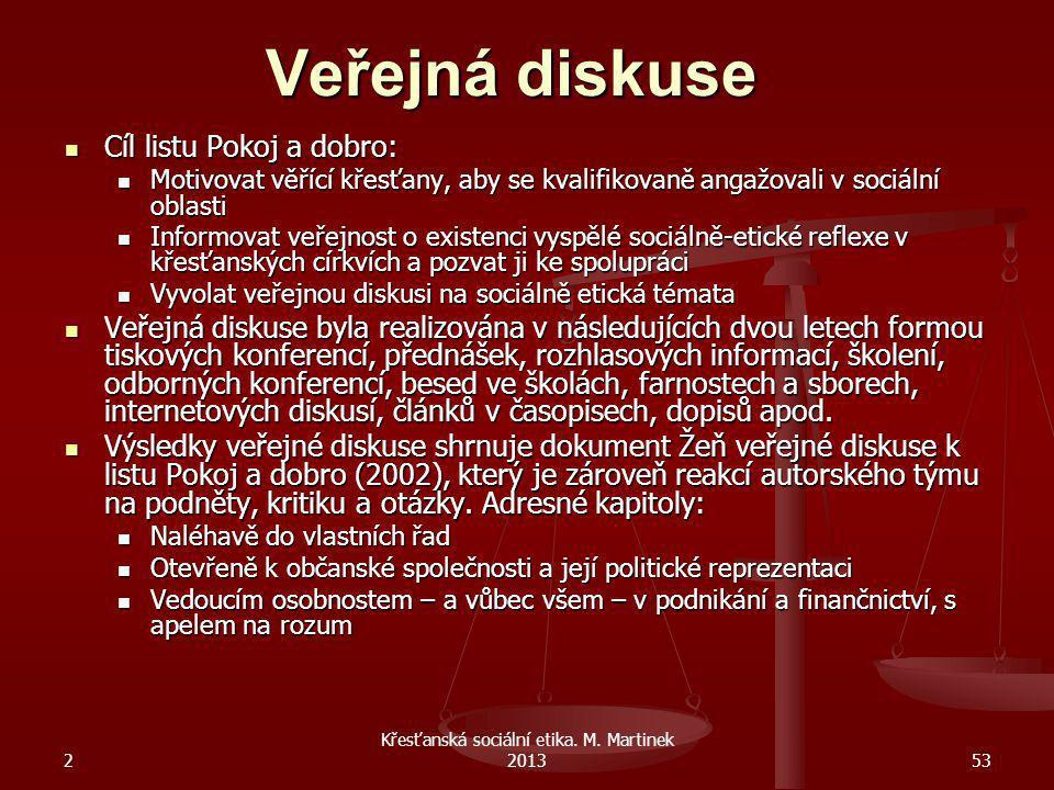 2 Křesťanská sociální etika. M. Martinek 201353 Veřejná diskuse Cíl listu Pokoj a dobro: Motivovat věřící křesťany, aby se kvalifikovaně angažovali v