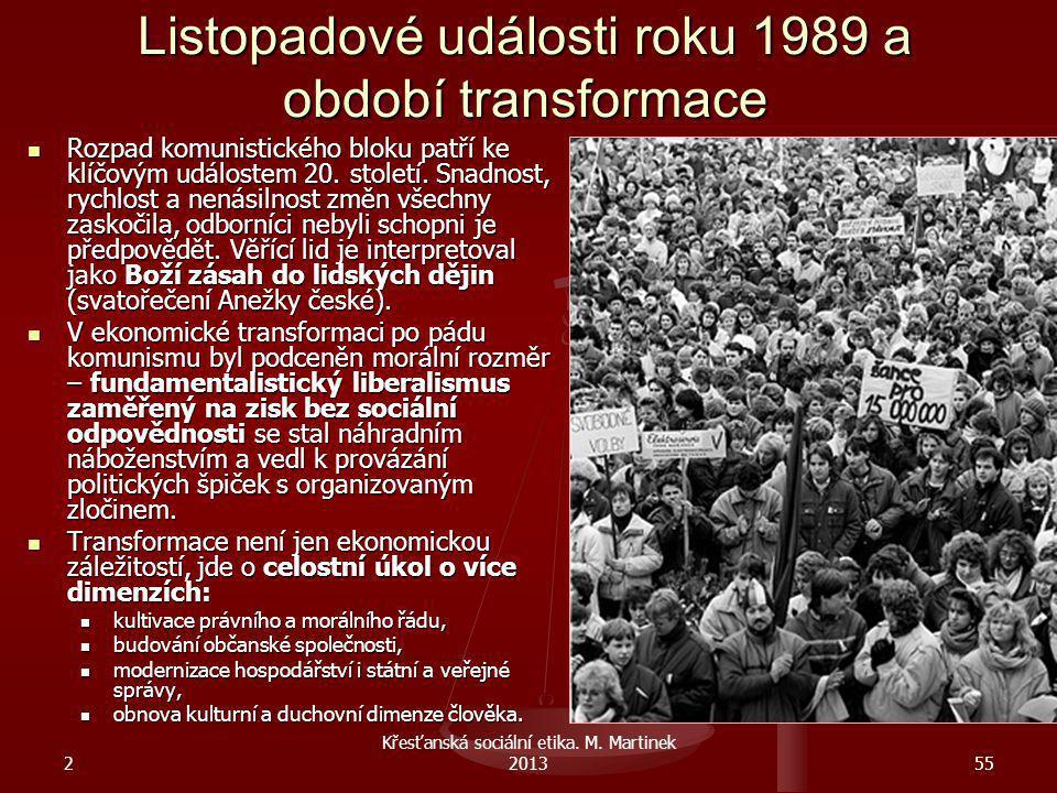 2 Křesťanská sociální etika. M. Martinek 201355 Listopadové události roku 1989 a období transformace Rozpad komunistického bloku patří ke klíčovým udá