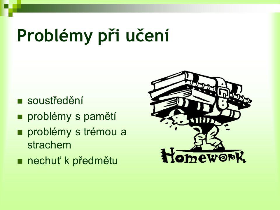 Problémy při učení soustředění problémy s pamětí problémy s trémou a strachem nechuť k předmětu