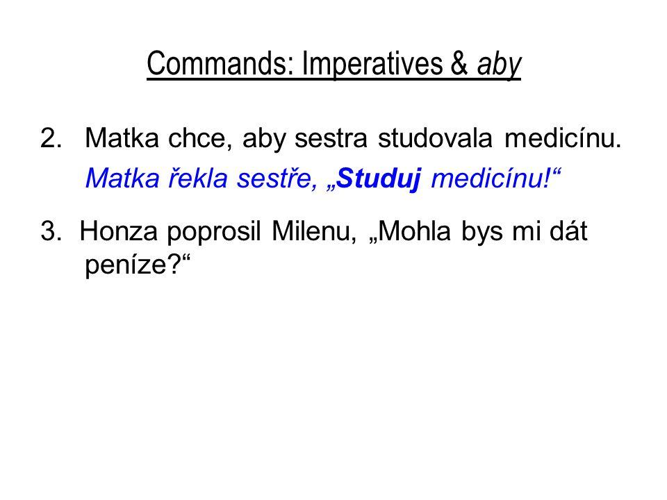 Commands: Imperatives & aby 2.Matka chce, aby sestra studovala medicínu.