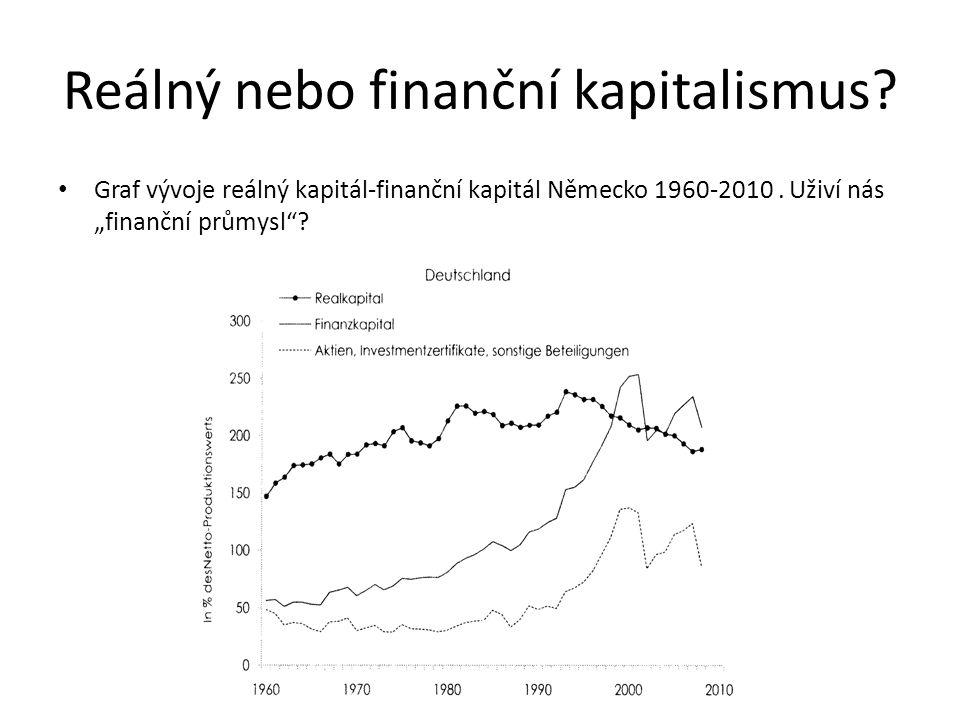 """Reálný nebo finanční kapitalismus? Graf vývoje reálný kapitál-finanční kapitál Německo 1960-2010. Uživí nás """"finanční průmysl""""?"""