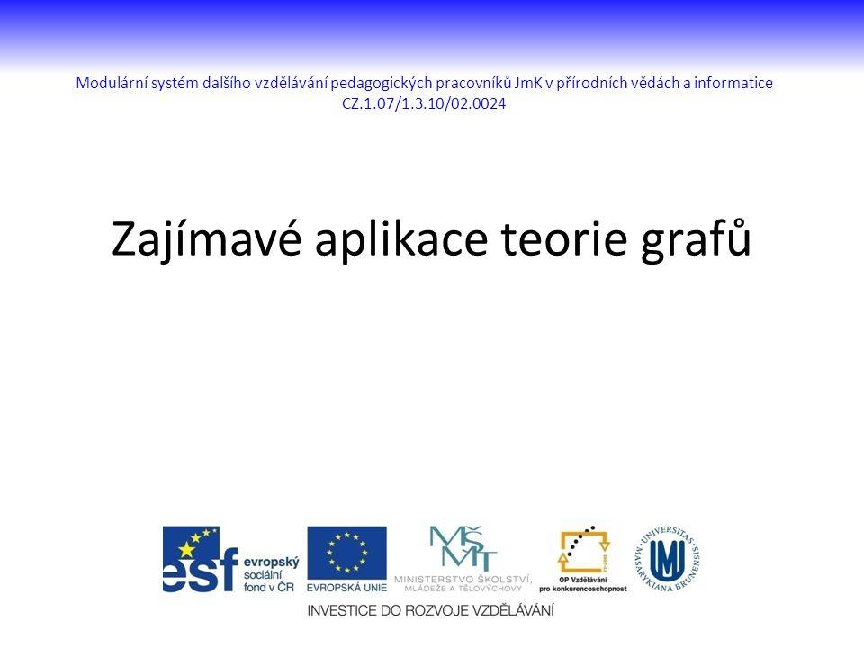 Modulární systém dalšího vzdělávání pedagogických pracovníků JmK v přírodních vědách a informatice CZ.1.07/1.3.10/02.0024 Zajímavé aplikace teorie gra
